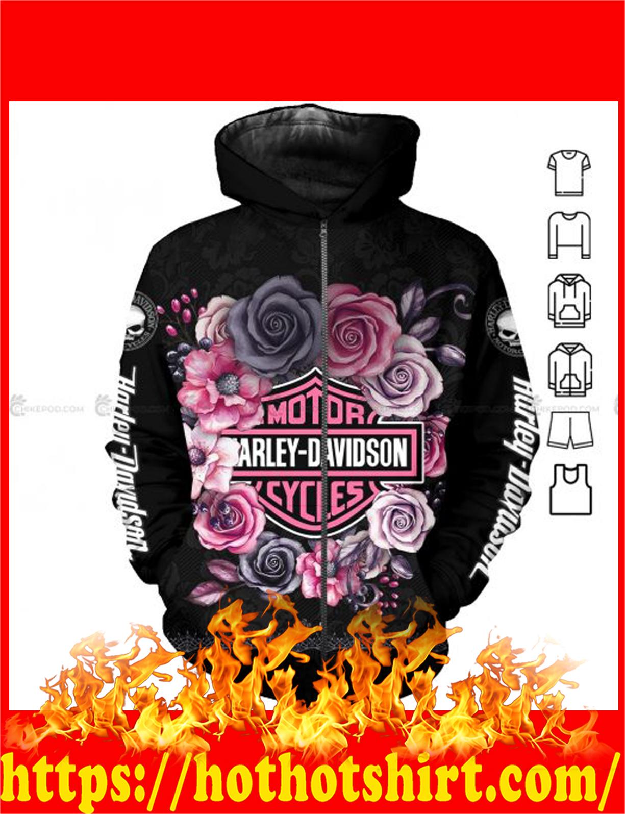Harley davidson flower all over printed 3d Zip hoodie