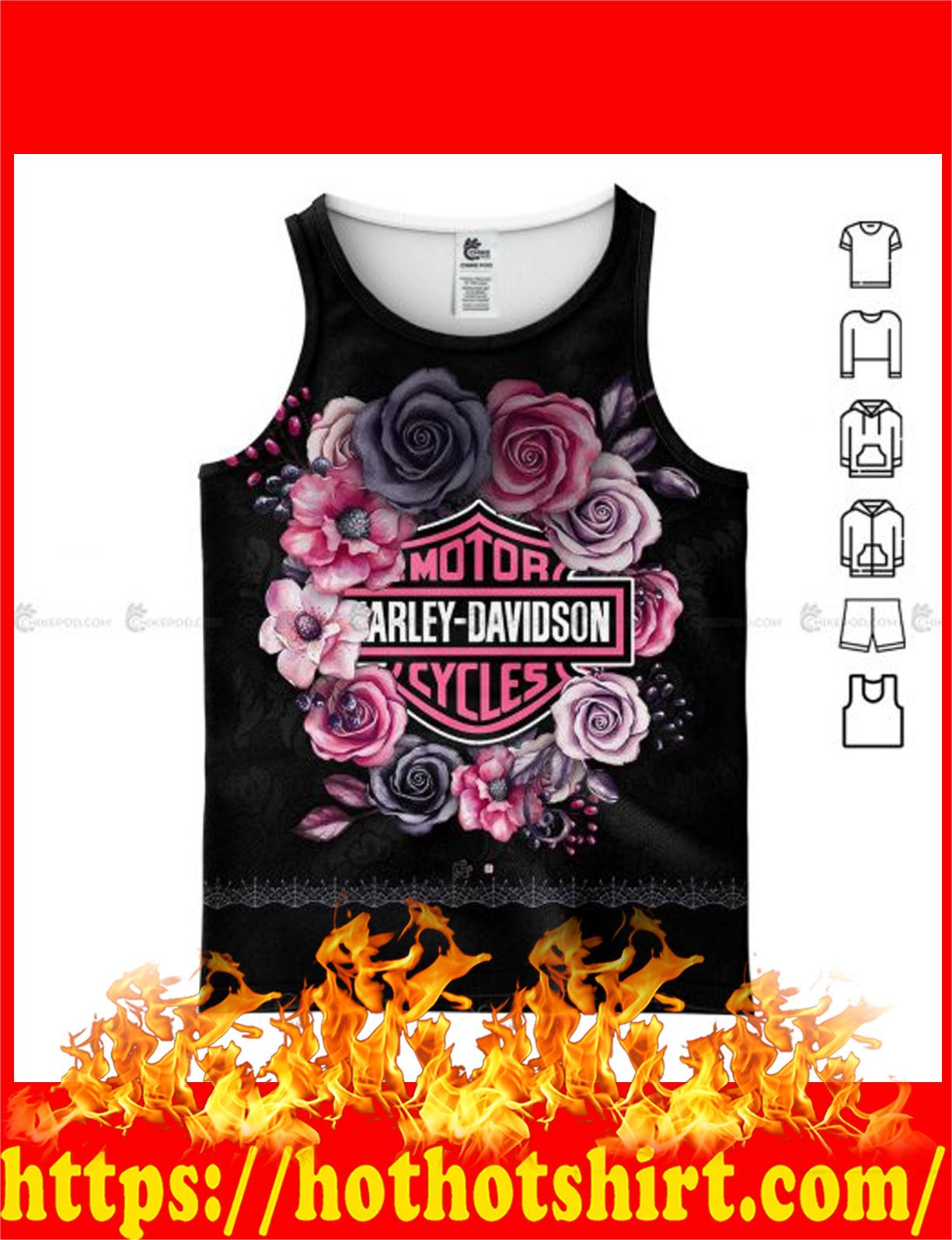 Harley davidson flower all over printed 3d tank top