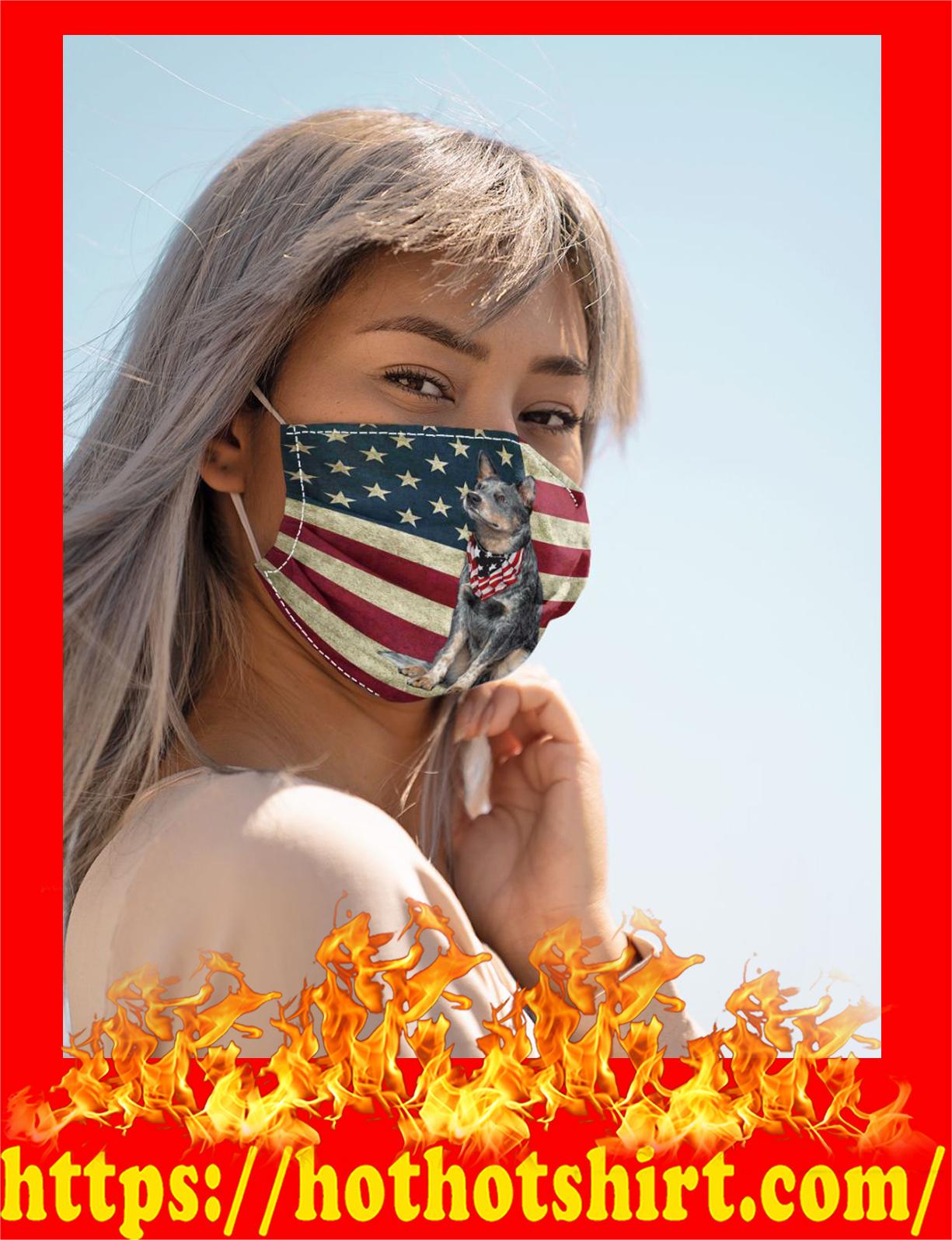 Heeler dog american flag face mask