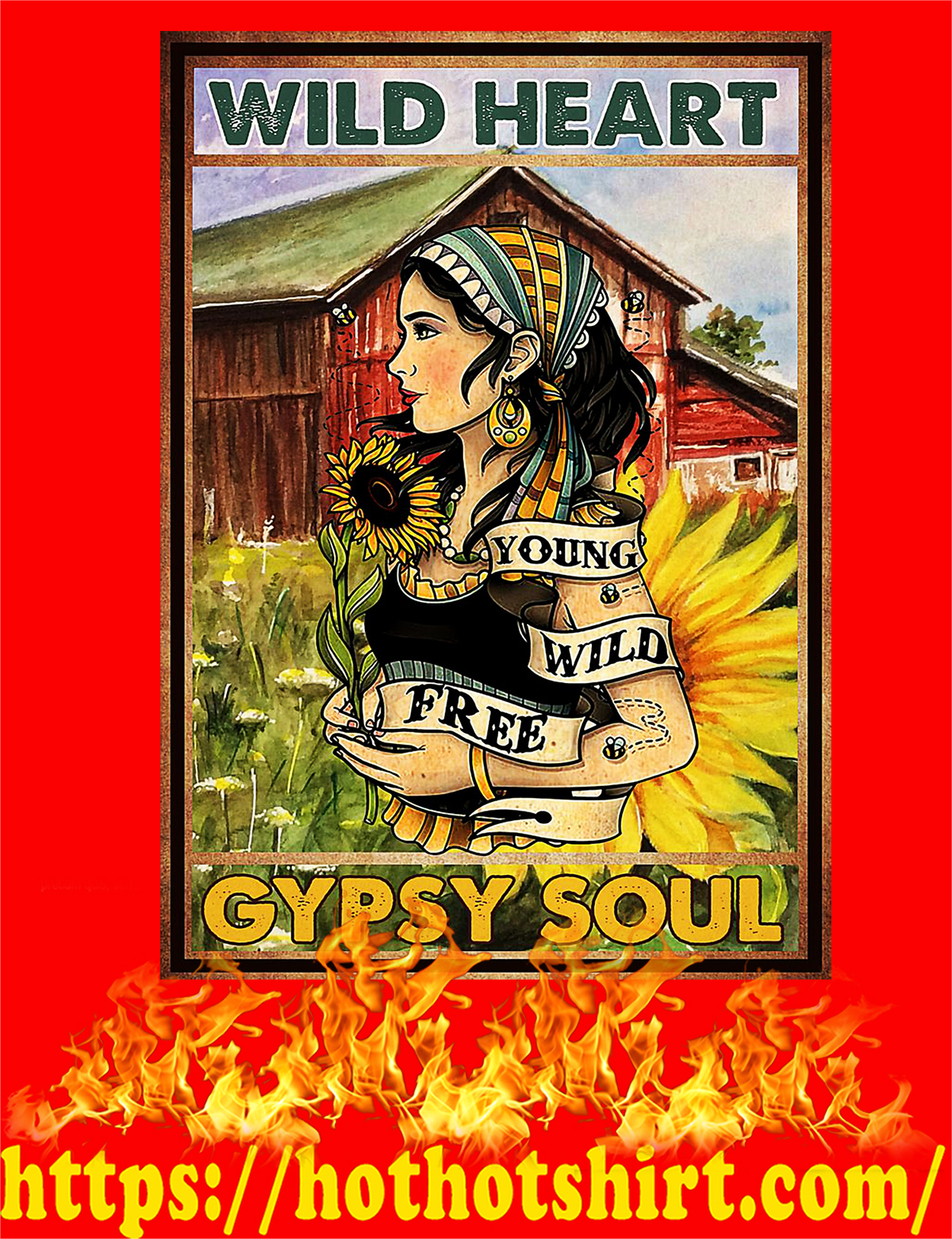 Hippie youth wild free Wild heart gypsy soul poster - A2