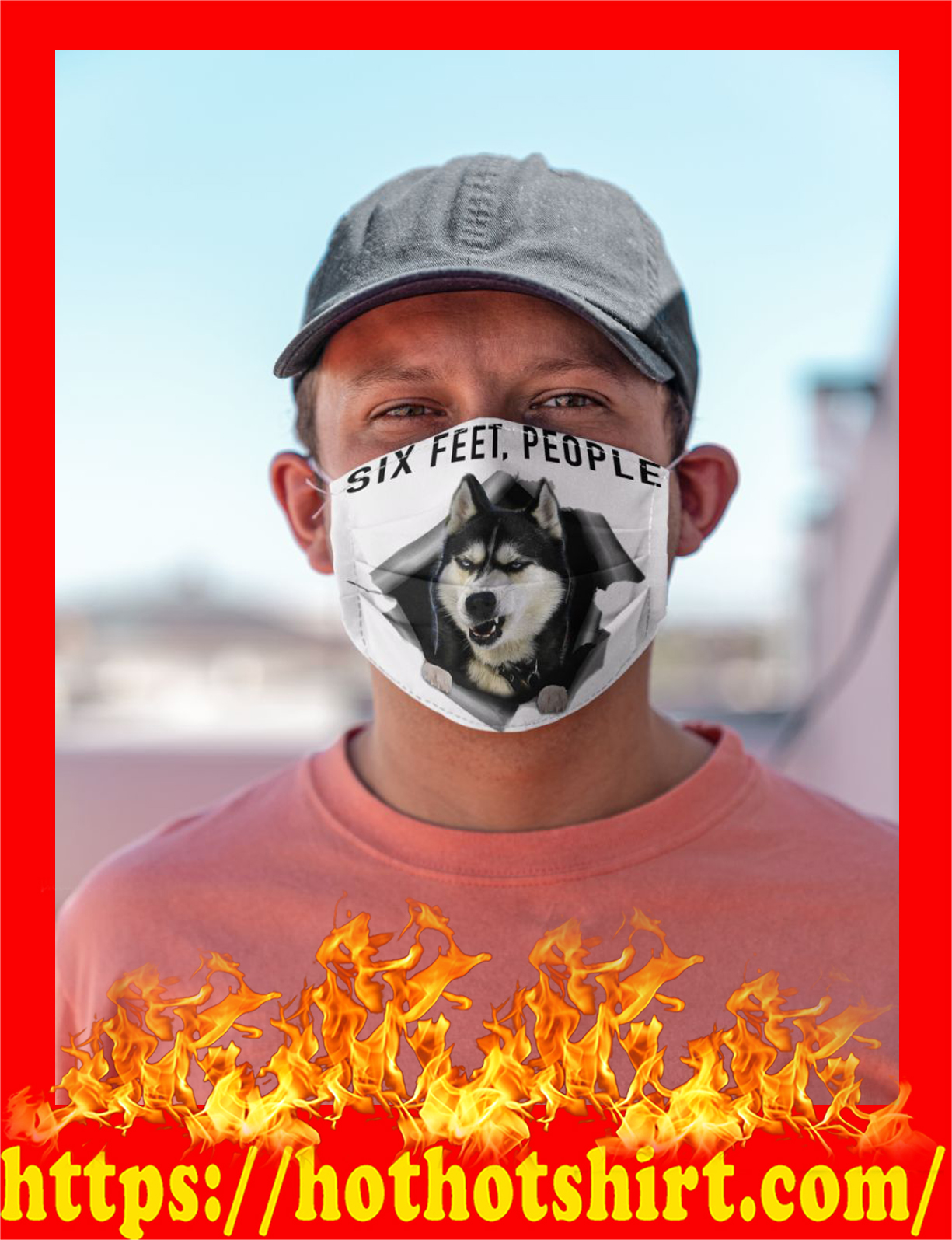 Husky six feet people cloth mask - detail