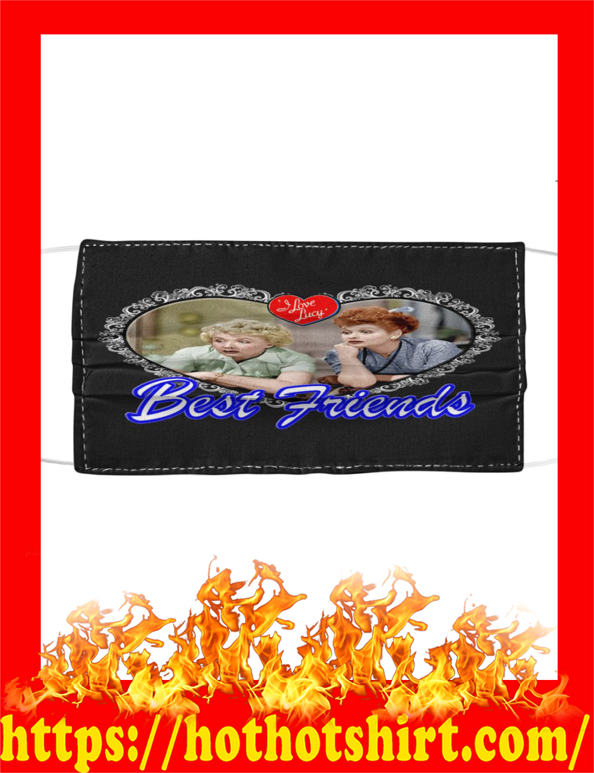 I love lucy best friends face mask - detail