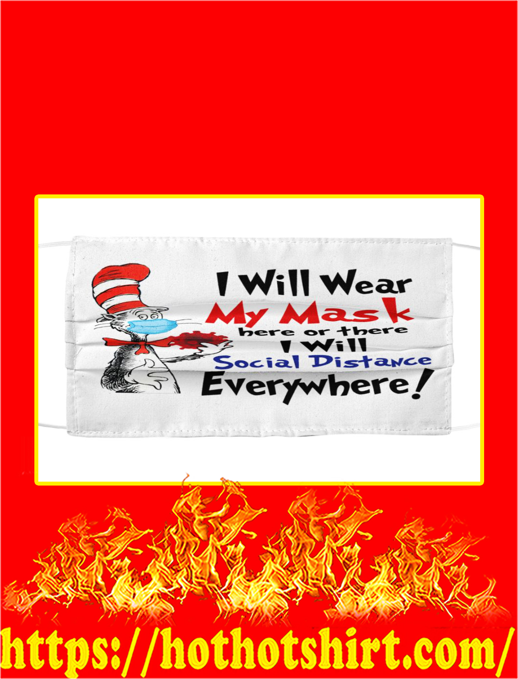 I will wear my mask dr seuss cloth face mask