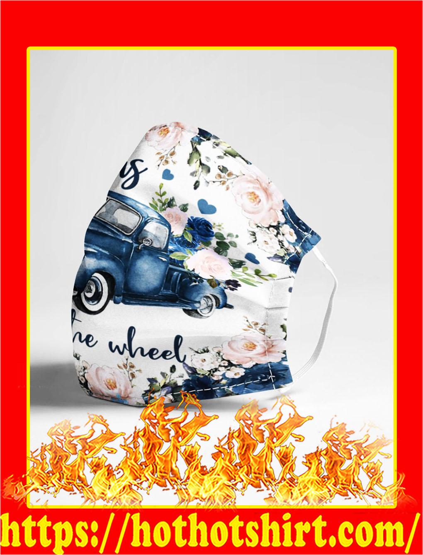 Jesus take the wheel car flower face mask- pic 1