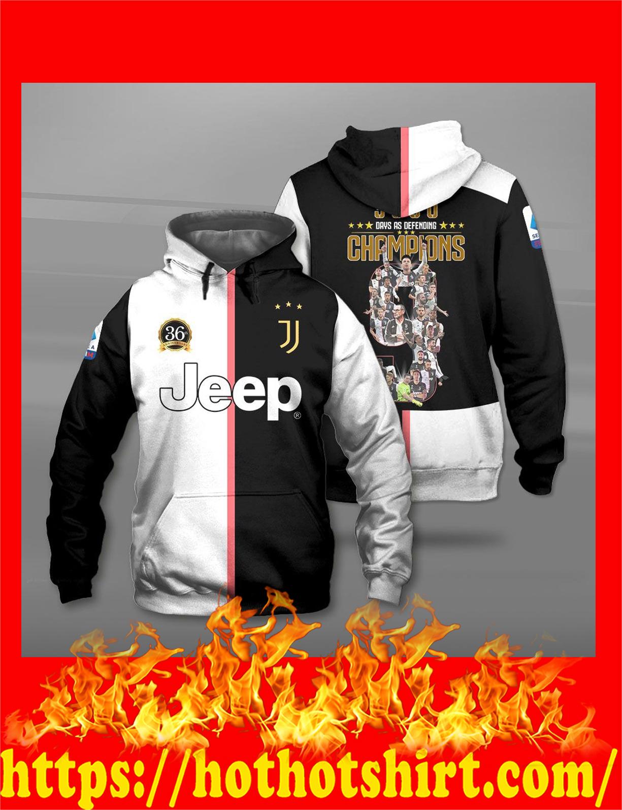 Juventus 3000 days as defending champions 3d hoodie