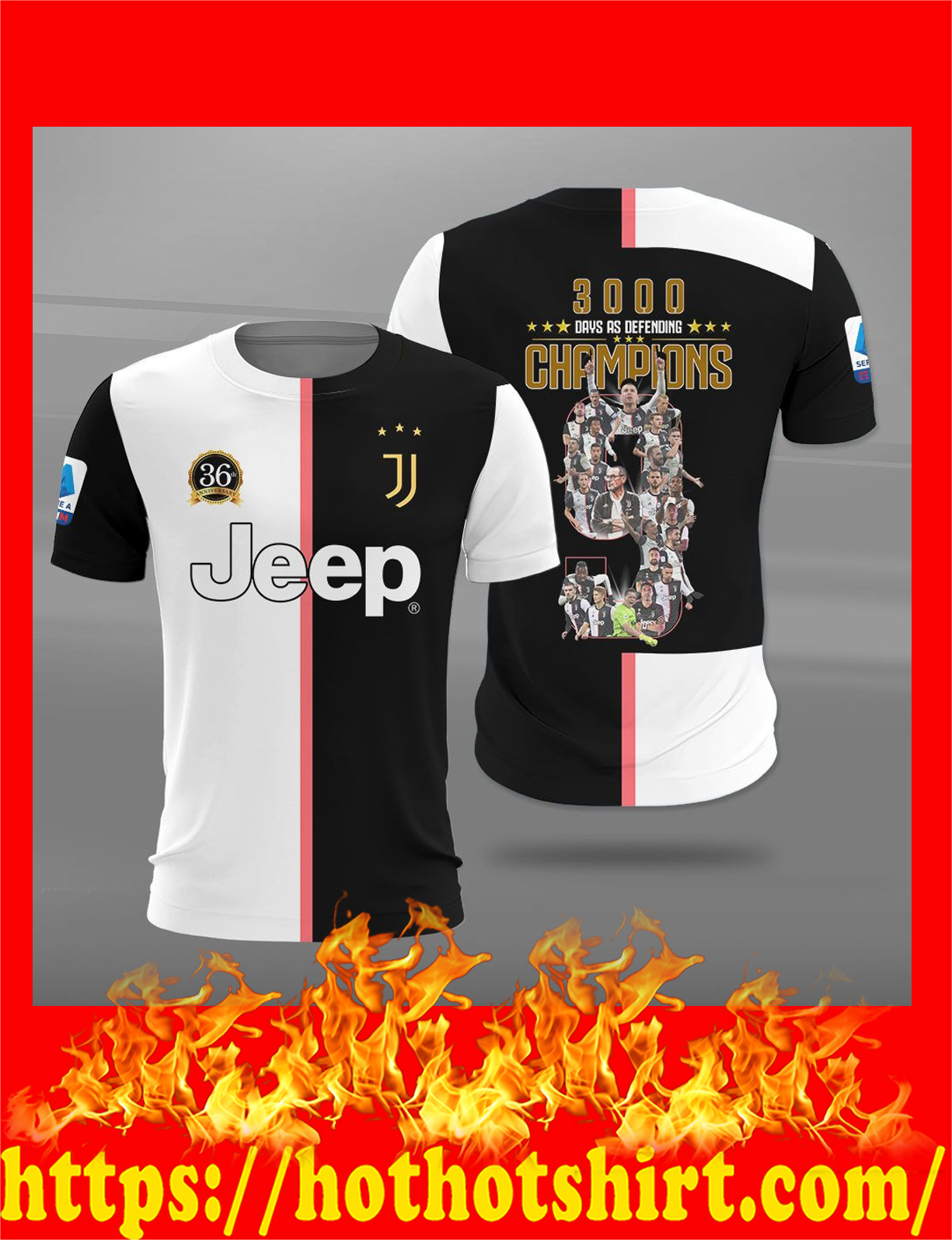 Juventus 3000 days as defending champions 3d t-shirt