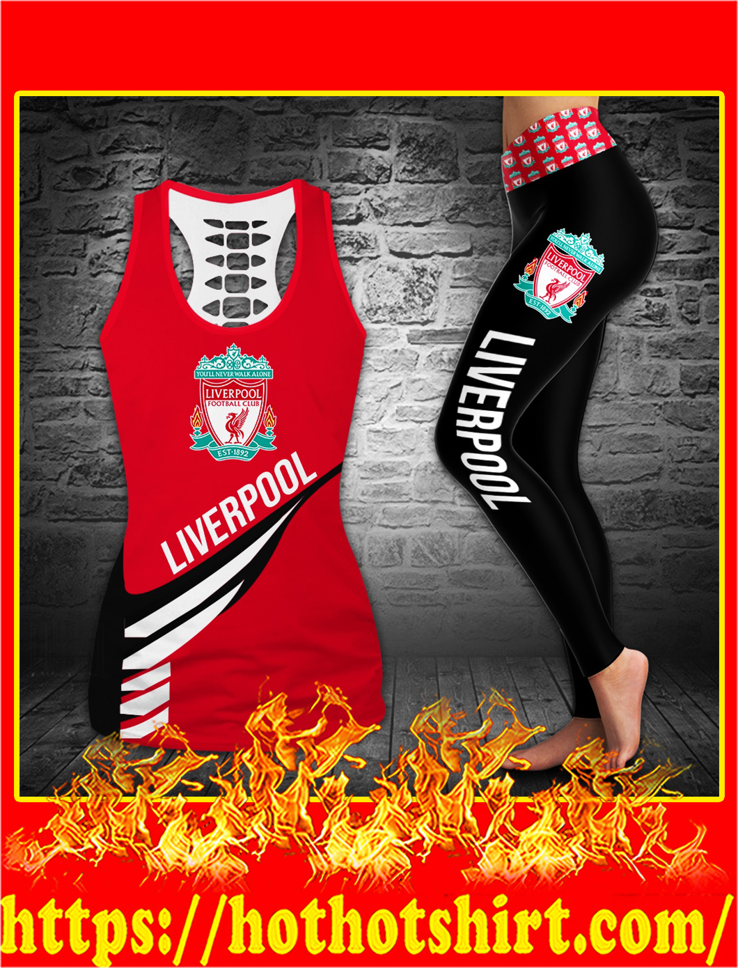 Liverpool football club hollow tank top and legging