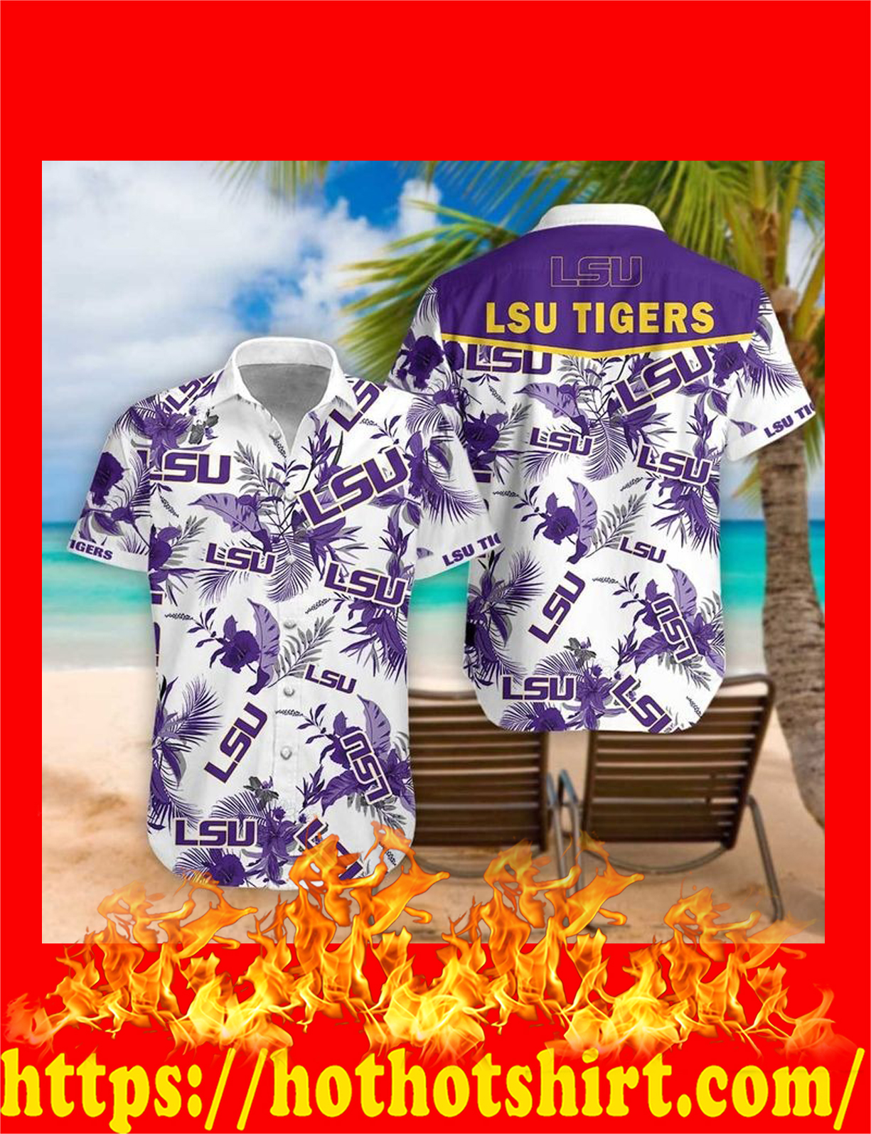 Lsu tigers hawaiian shirt - detail