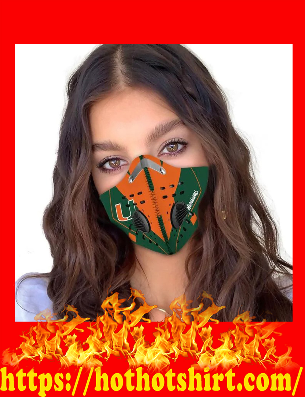 Miami Hurricanes filter face mask - detail