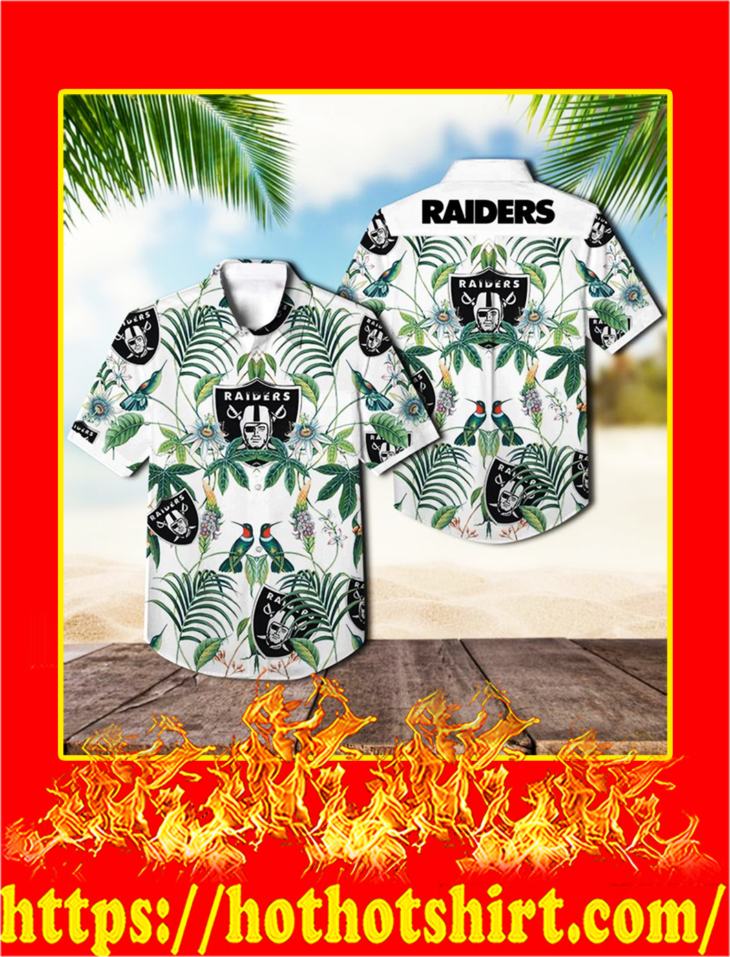 Oakland raiders tropical hawaiian shirt - L