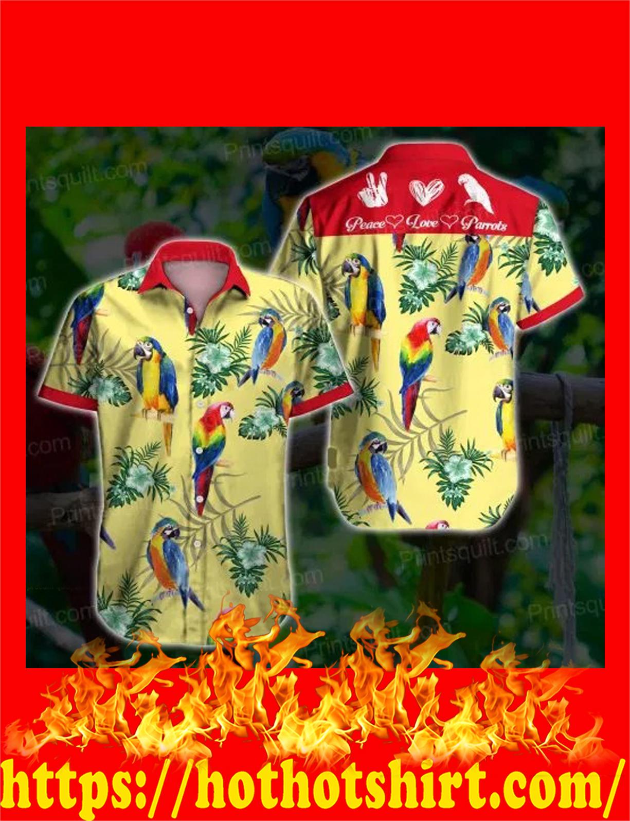 Peace love parrots hawaiian shirt - detail
