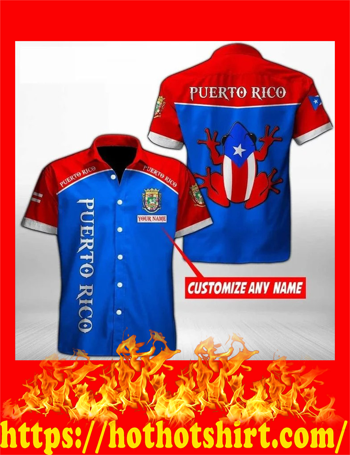 Personalize custom name Puerto rico hawaiian shirt - detail