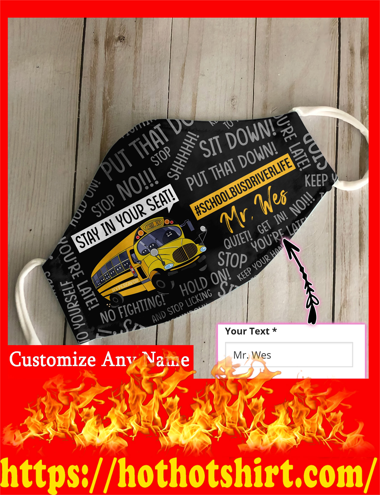 Personalized name custom school bus driver face mask