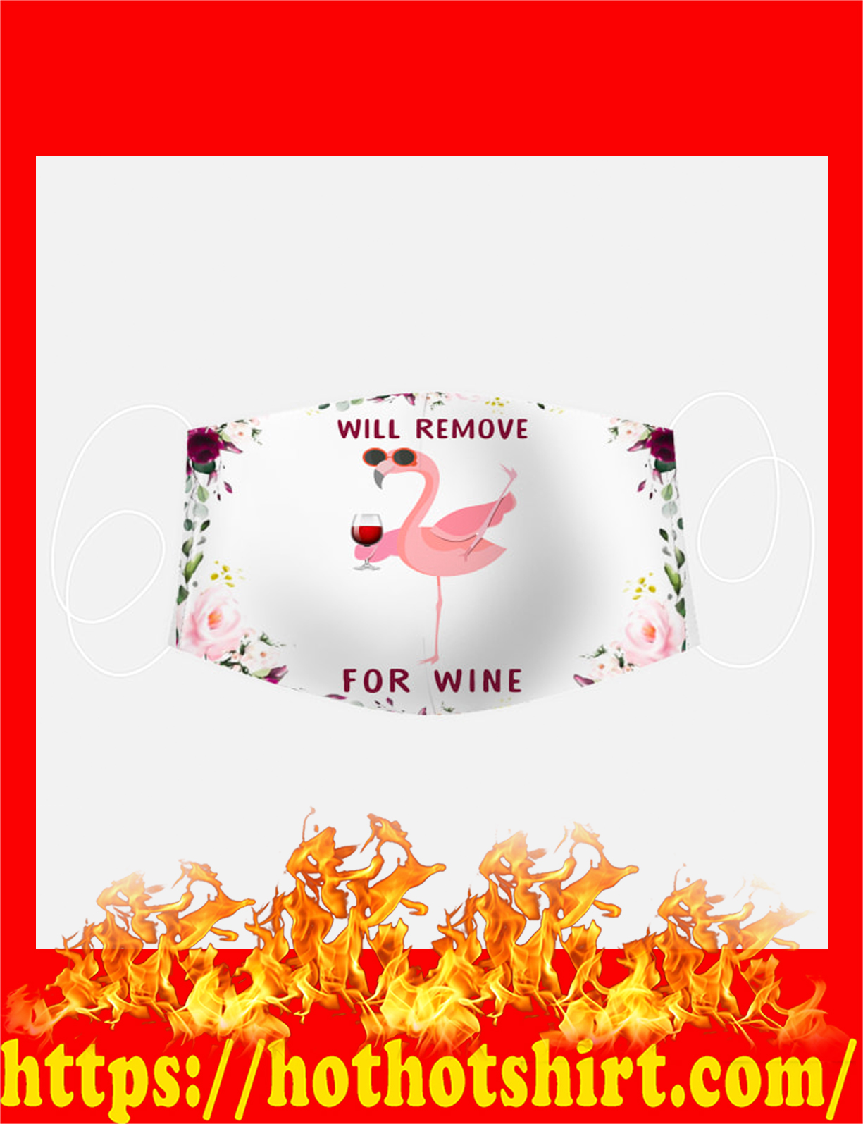 Pink flamingo wine face mask - detail