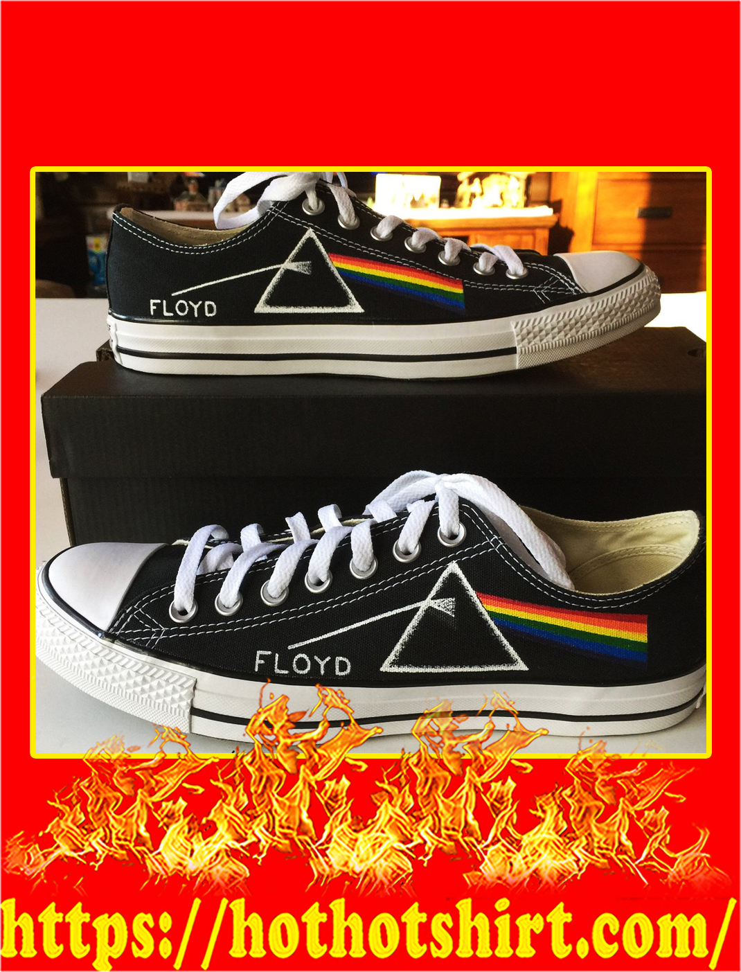 Pink floyd canvas low top shoes