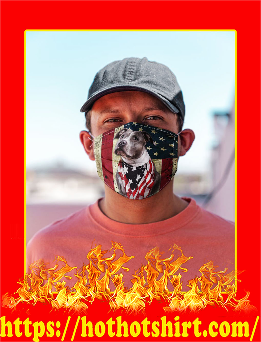 Pit bull american flag face mask- pic 1