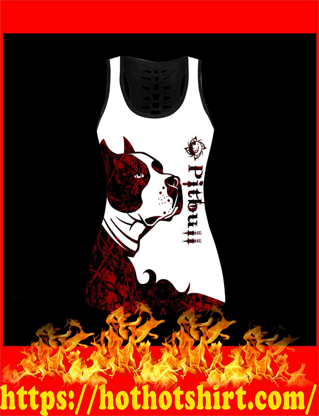 Pitbull red tattoos legging and hollow tank 1
