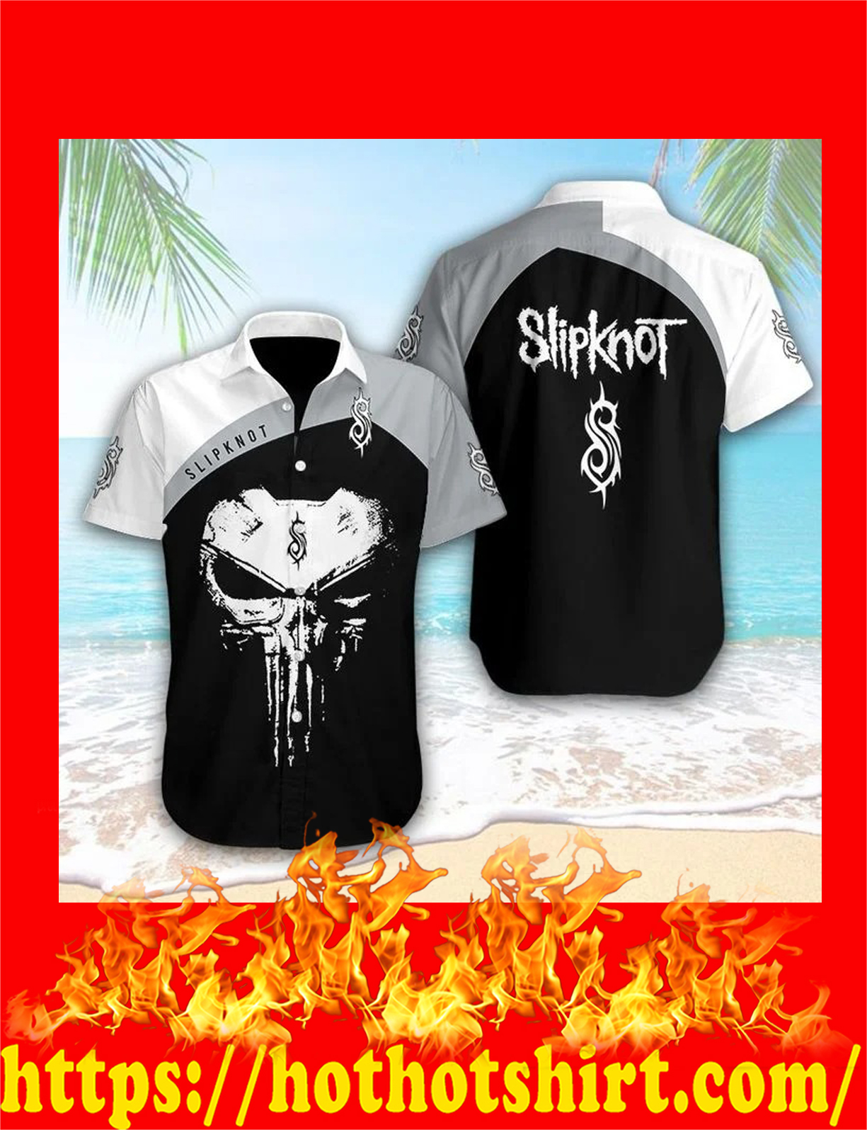 Punisher skull slipknot hawaiian shirt - detail