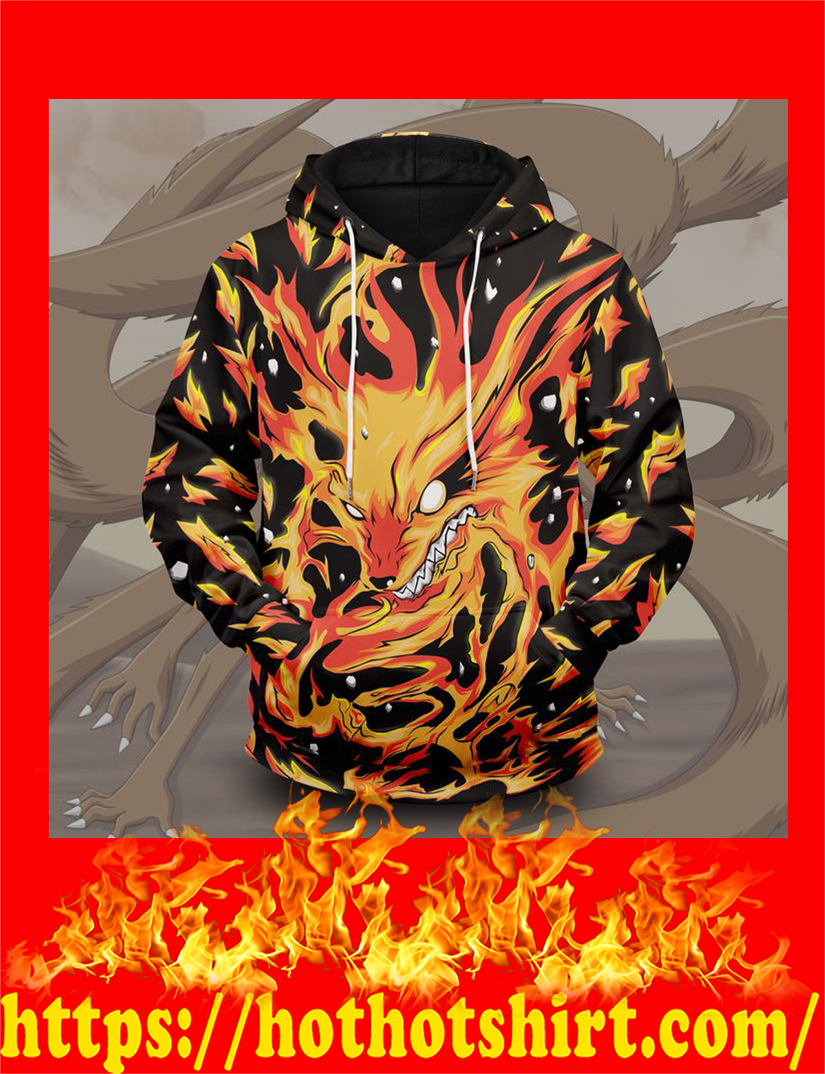 Raging kurama unisex pullover hoodie - front