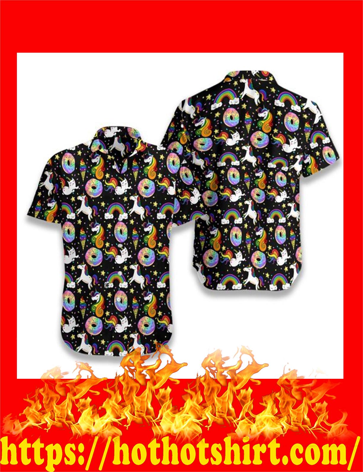 Rainbow unicorn kitticorn hawaiian shirt - DETAIL