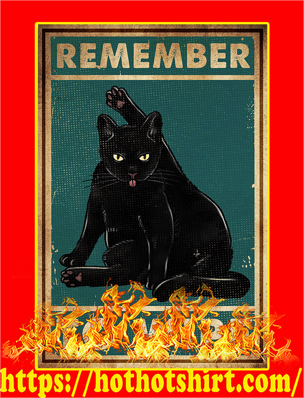 Remember to wipe black cat poster - A2