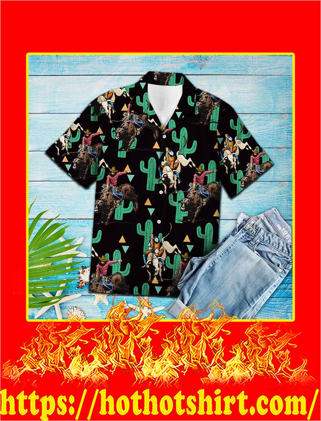 Rodeo cactus pattern hawaiian shirt- L