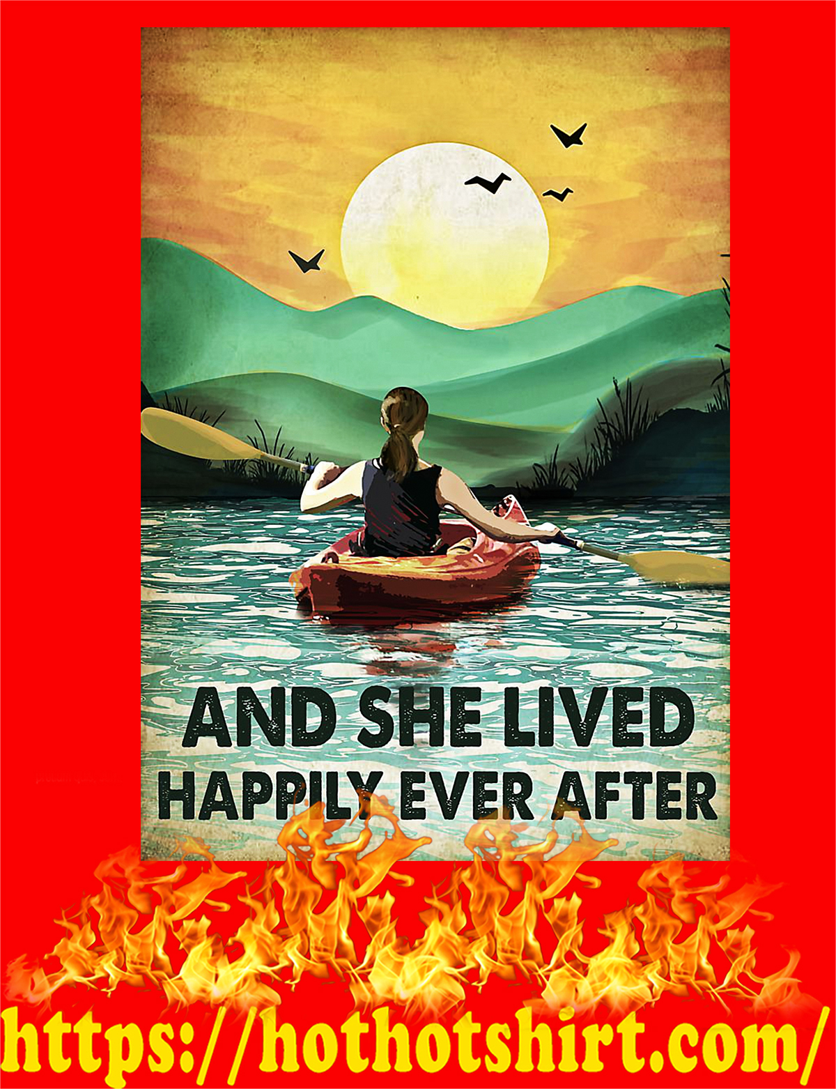 Rowing And she lived happily ever after poster - A4