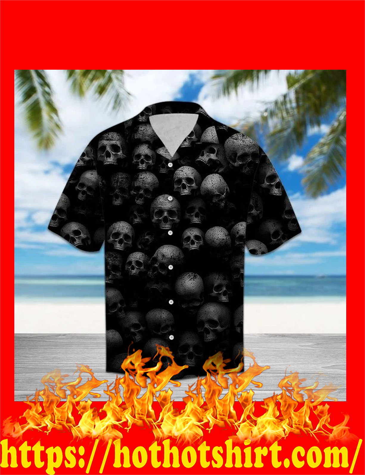 Skull awesome hawaiian shirt - detail
