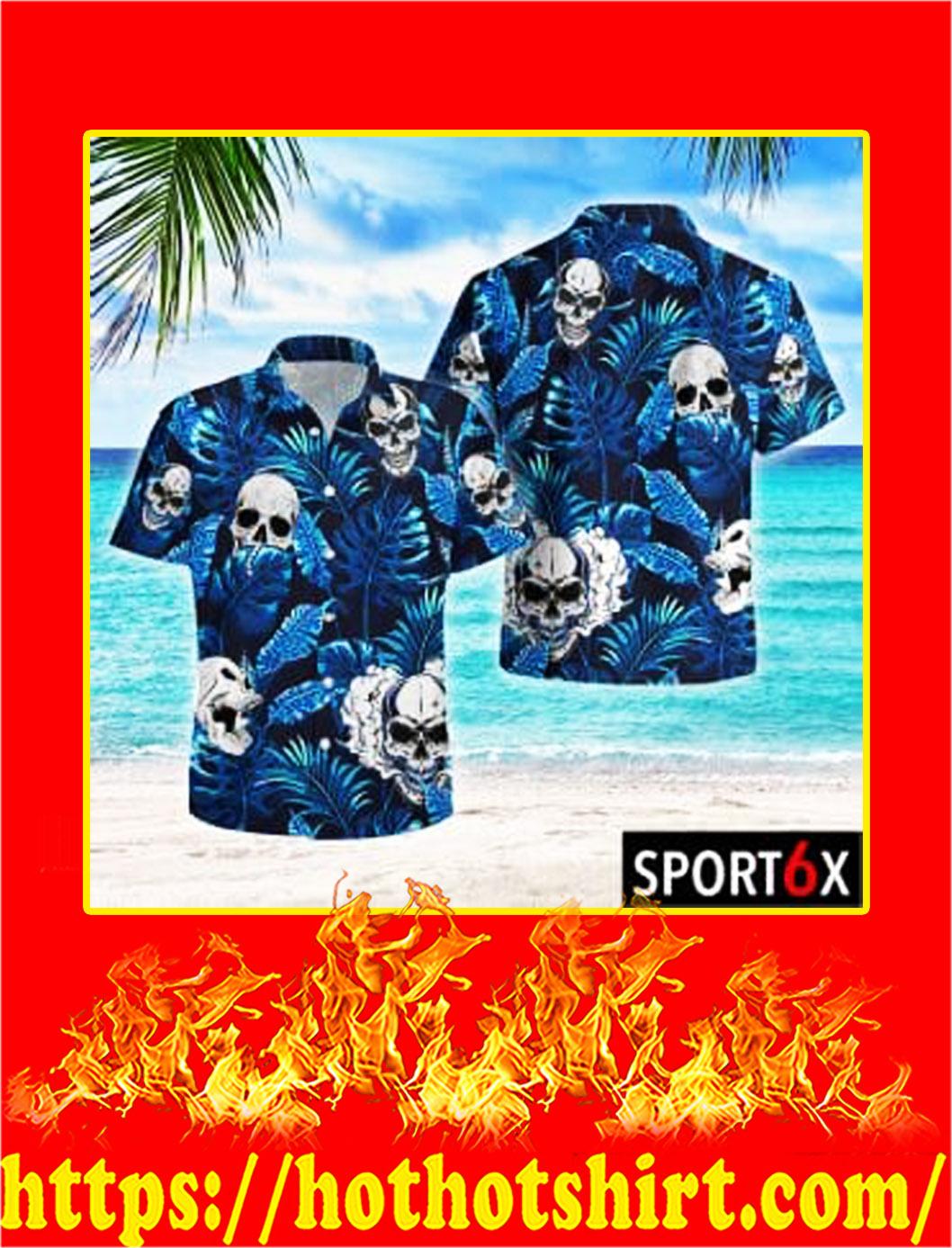 Skull blue tropical hawaiian shirt- pic 1