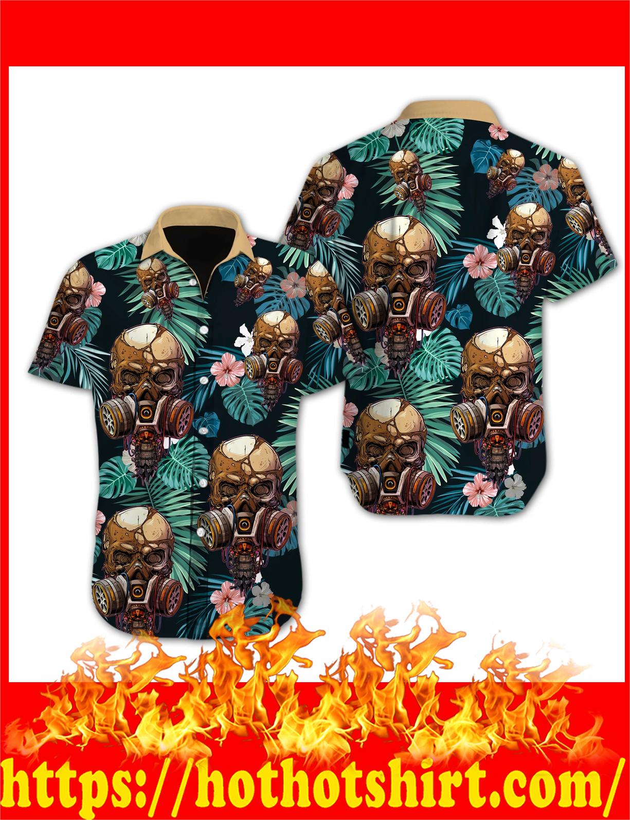 Skull flower hawaiian shirt - detail