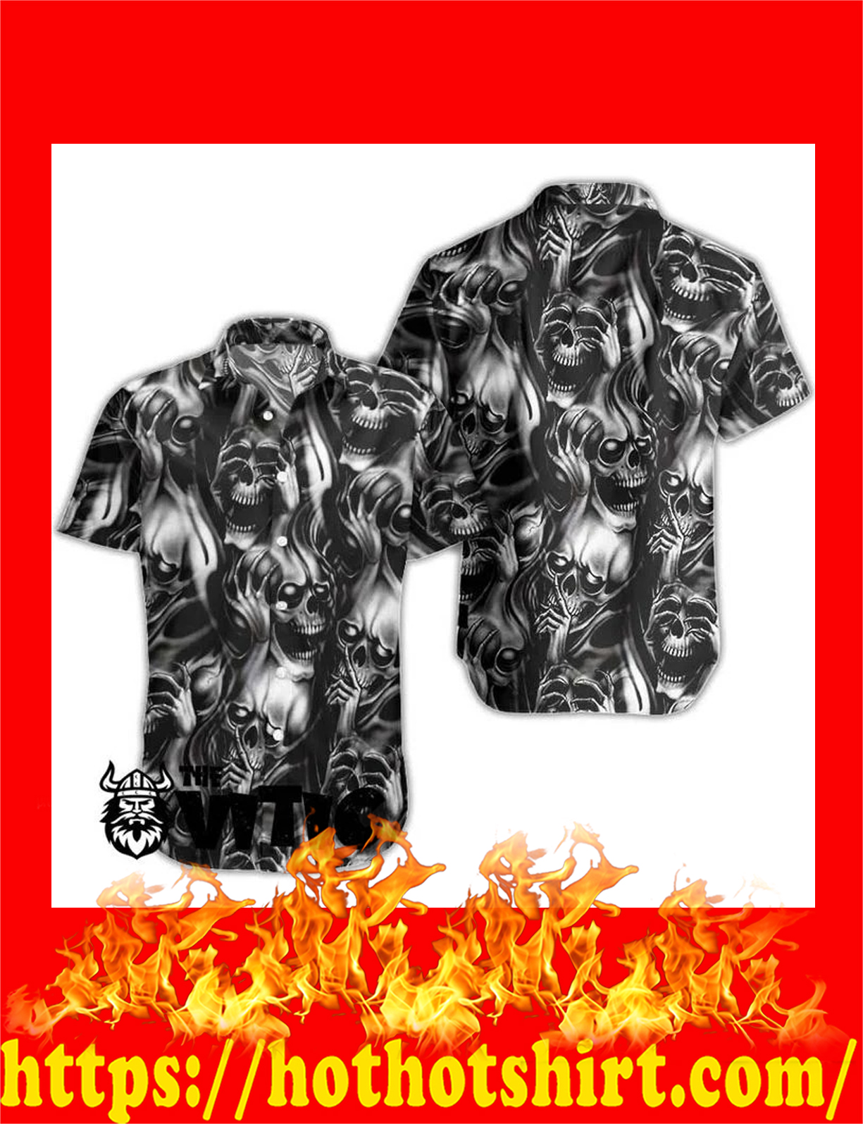 Smoke skull hawaiian shirt and short 2