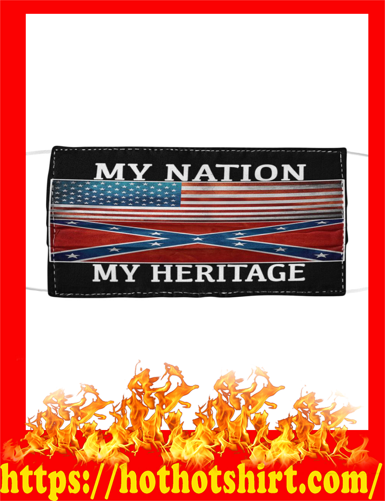 Southern united states My nation my heritage face mask- detail