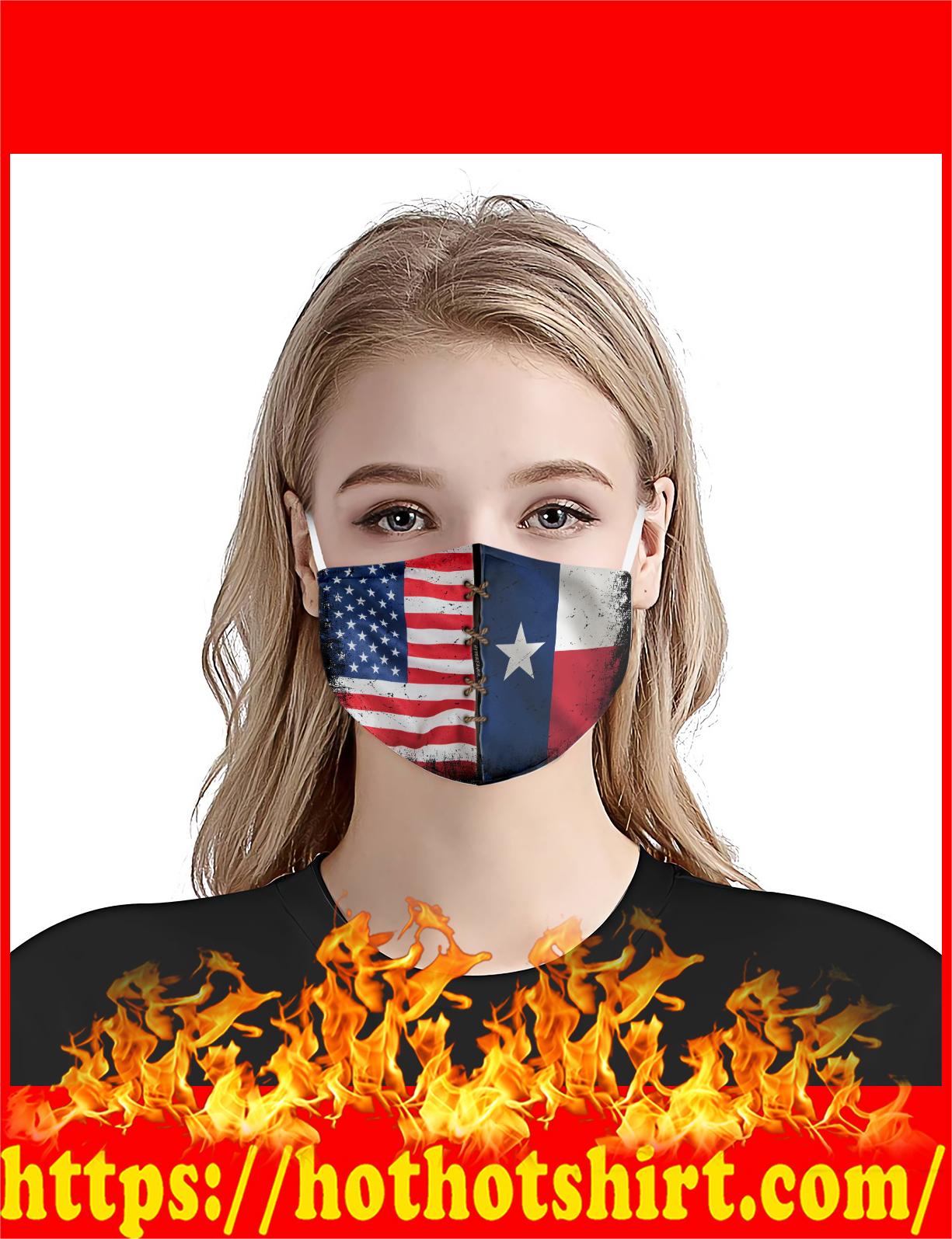 Texas American flag face mask - detail