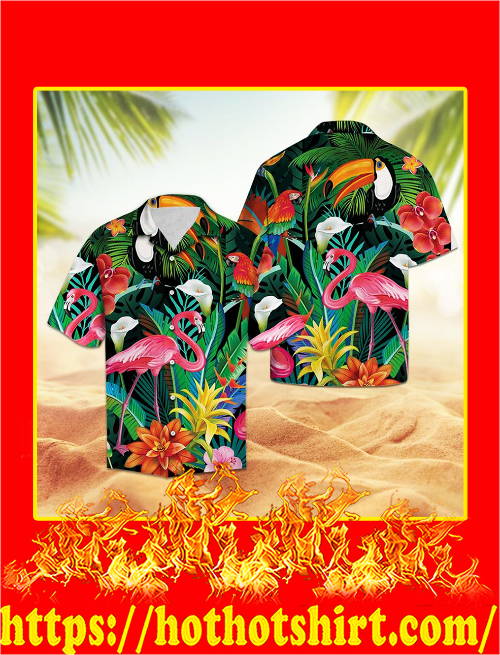 Tropical bird flamingo hawaii shirt -L