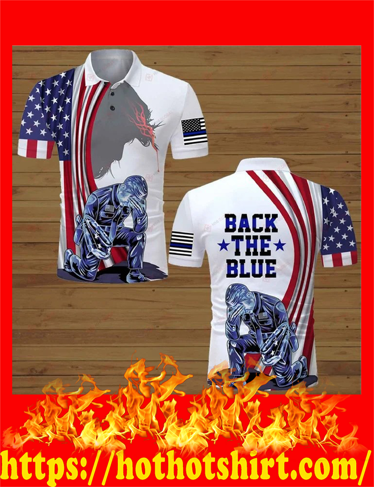 US police officer back the blue all over printed polo shirt