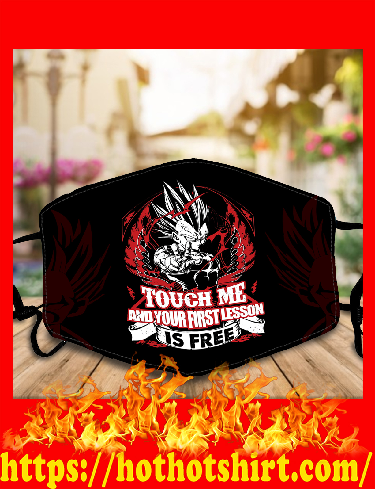 Vegeta touch me and your first lesson is free face mask - detail
