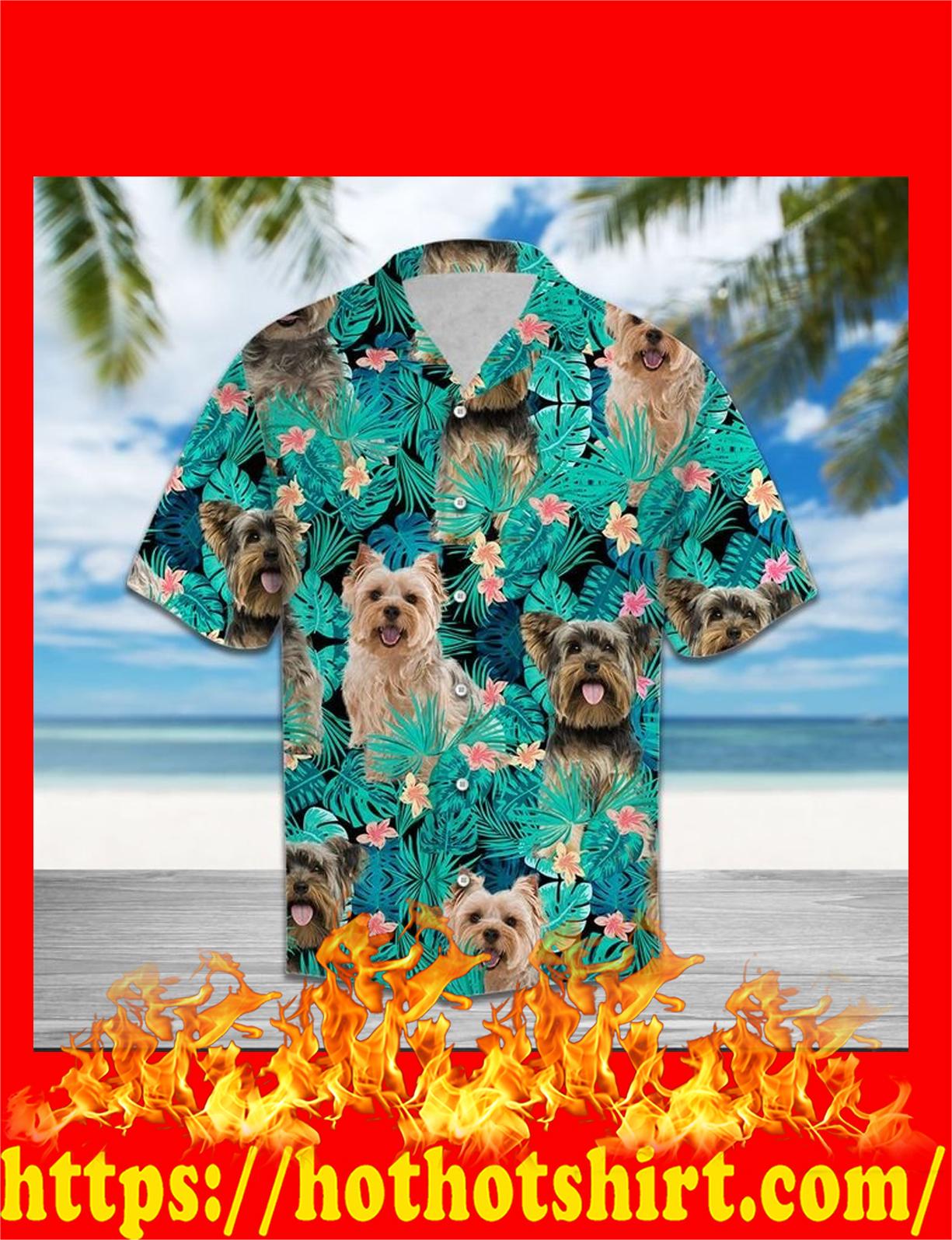 Yorkshire terrier tropical hawaiian shirt - detail