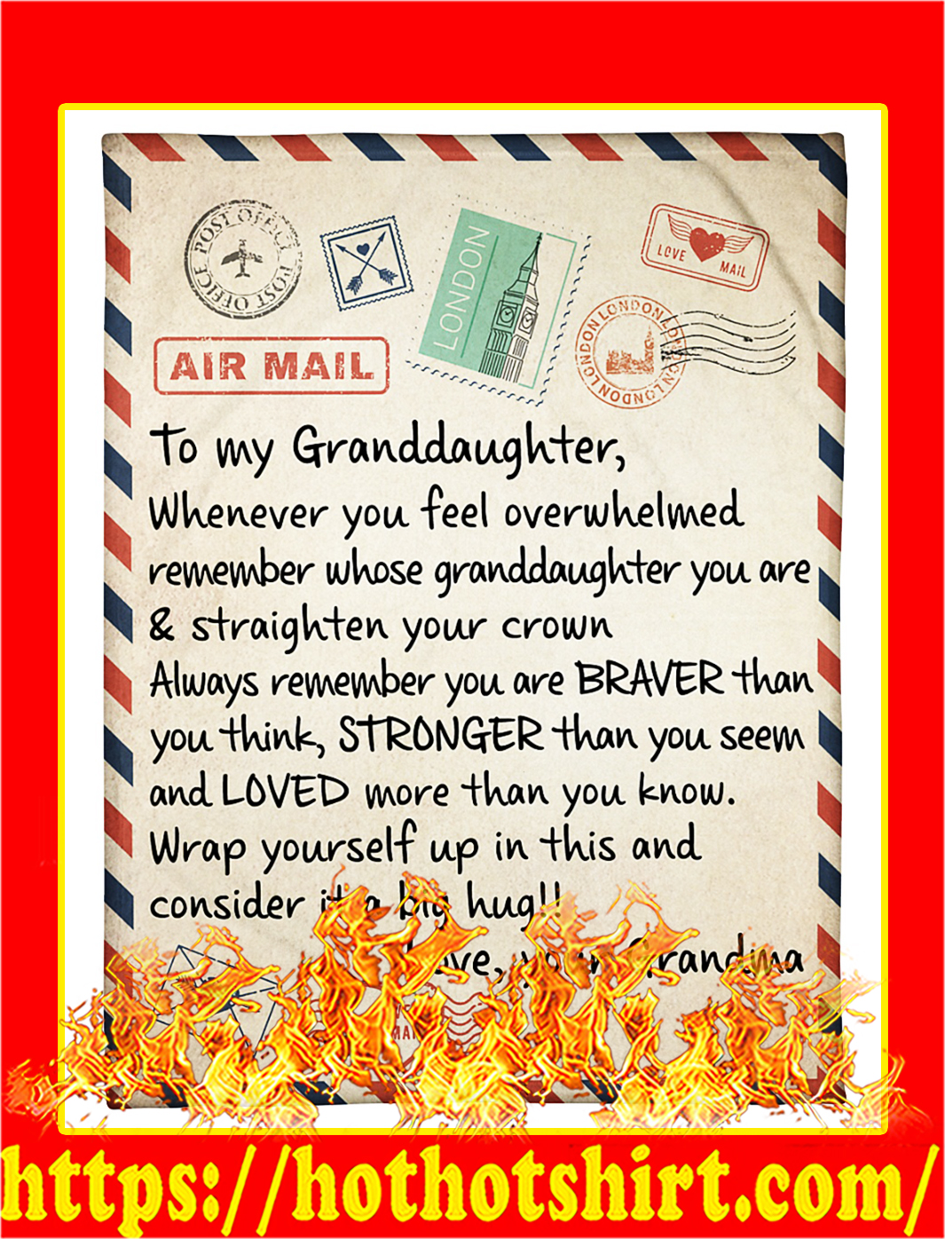 Air mail to my granddaughter love your grandma quilt blanket - Small