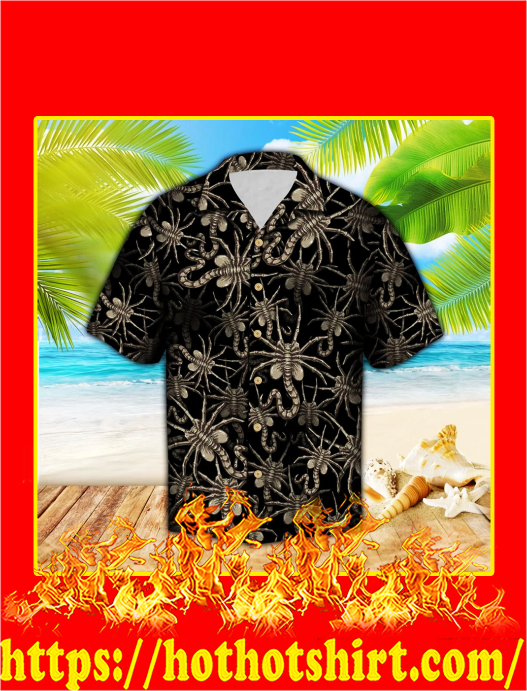 Alien face hugger hawaiian shirt - M