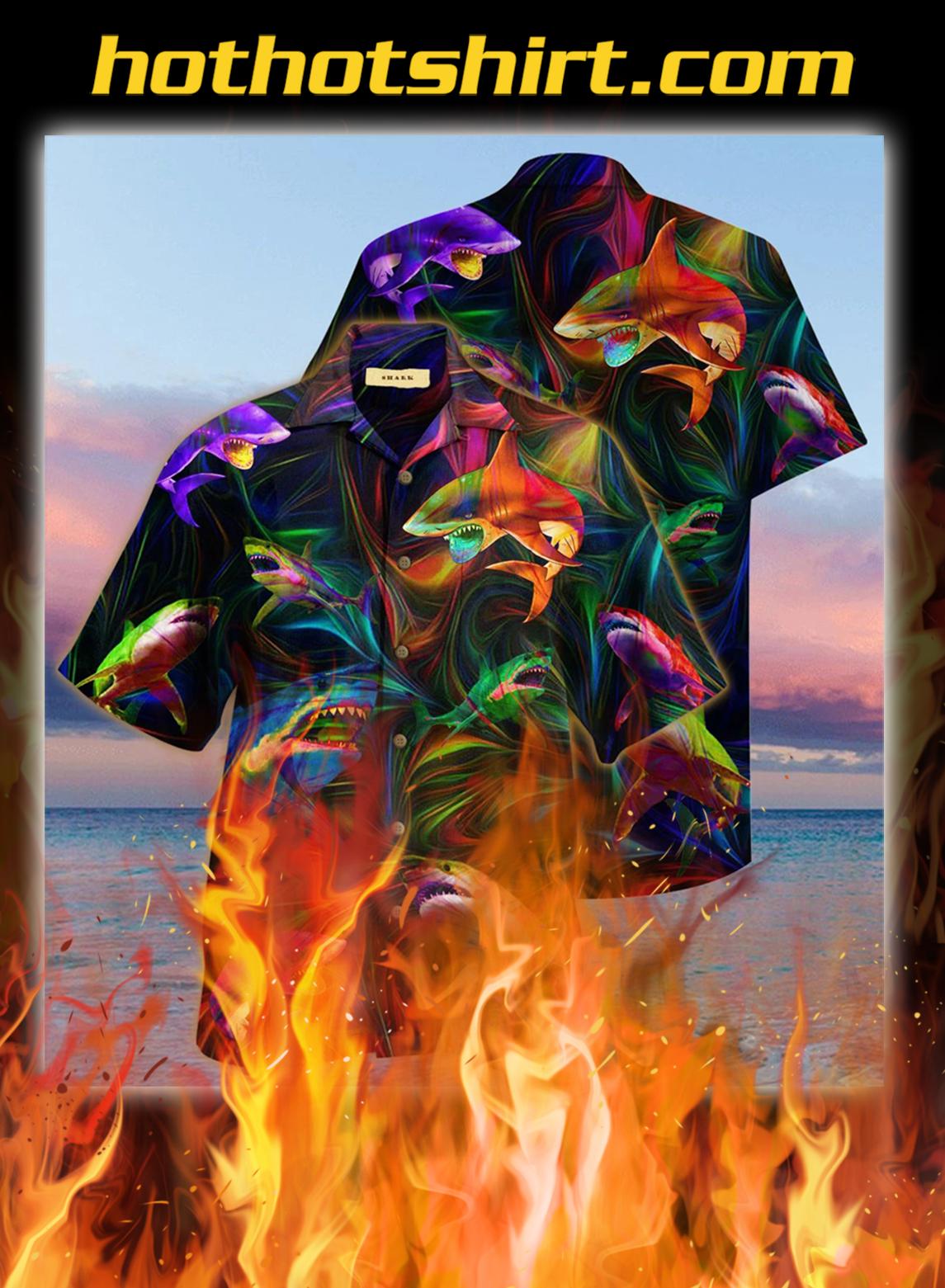 Amazing shark unisex hawaiian shirt- L