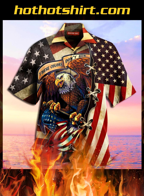 American eagle fly flag unisex hawaiian shirt 1
