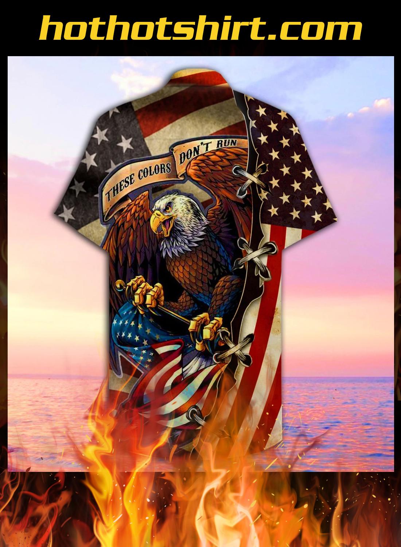 American eagle fly flag unisex hawaiian shirt 2
