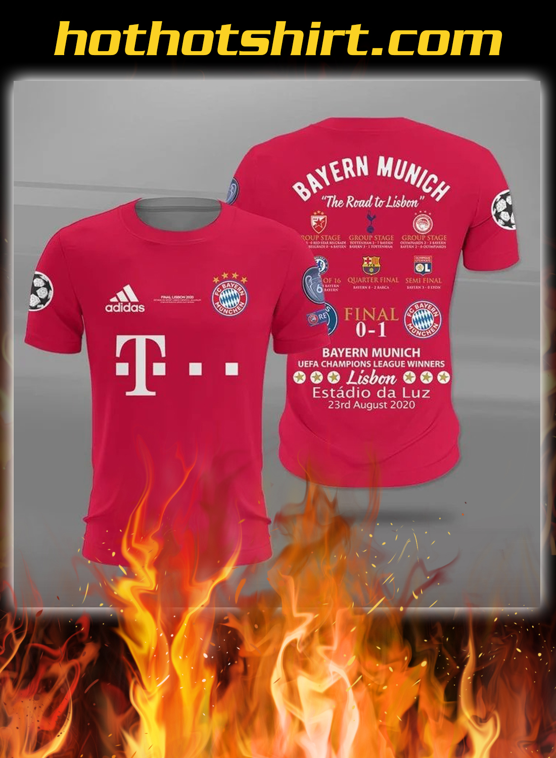 Bayern munich the road to lisbon all over printed t-shirt
