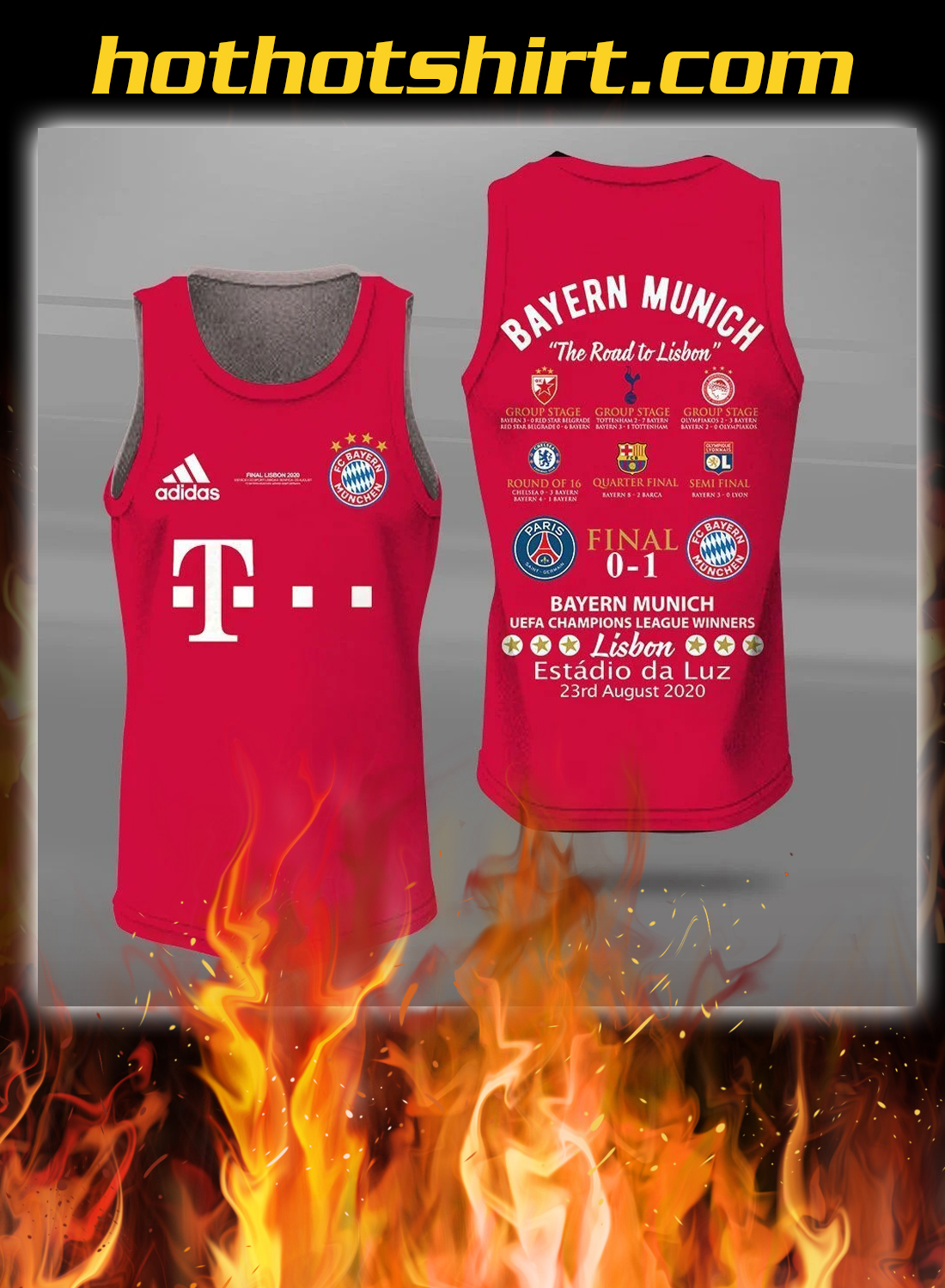 Bayern munich the road to lisbon all over printed tank top