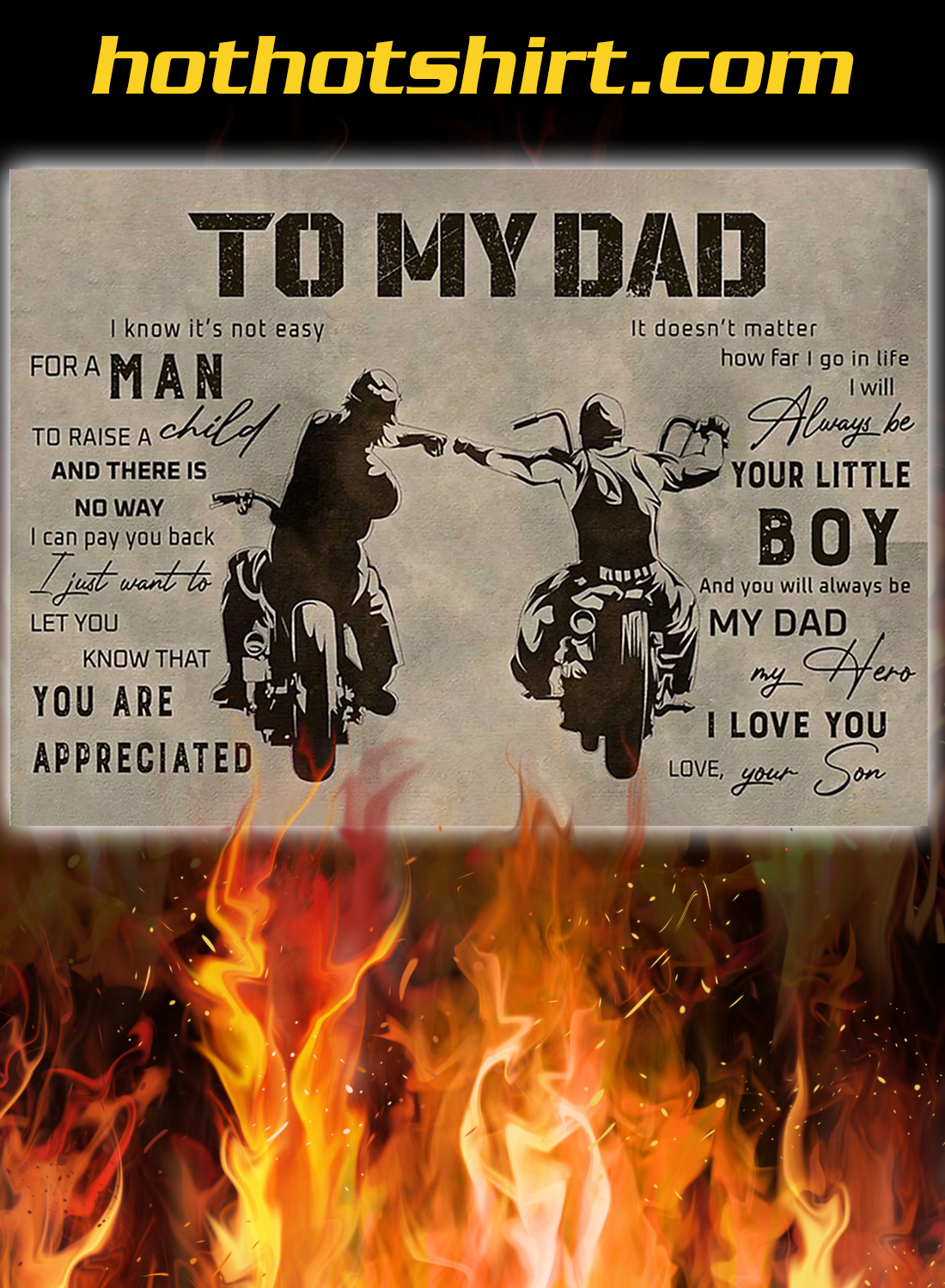 Biker To my dad your son poster 2