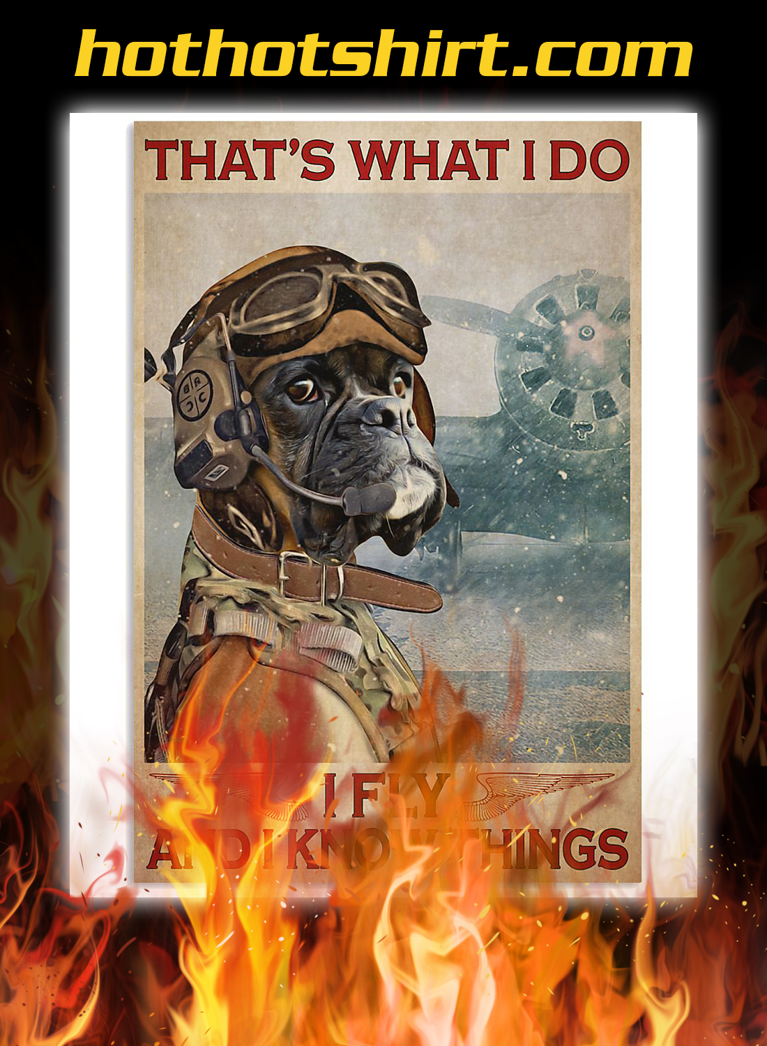 Boxer dog that's what i do i fly and i know things poster 1