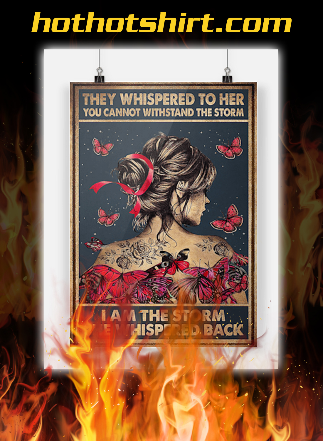 Breast cancer butterfly they whispered to her you cannot withstand the storm poster 1