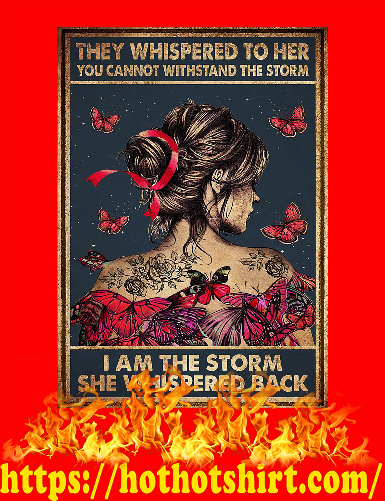 Breast cancer butterfly they whispered to her you cannot withstand the storm poster - A2