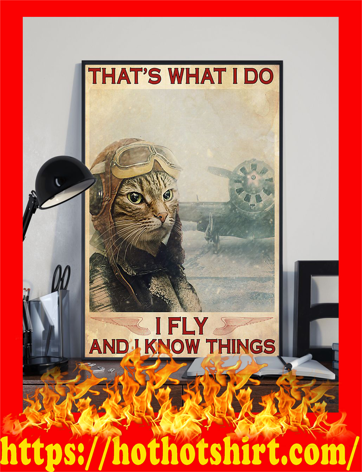Cat that's what i do i fly and i know things poster - Pic 1