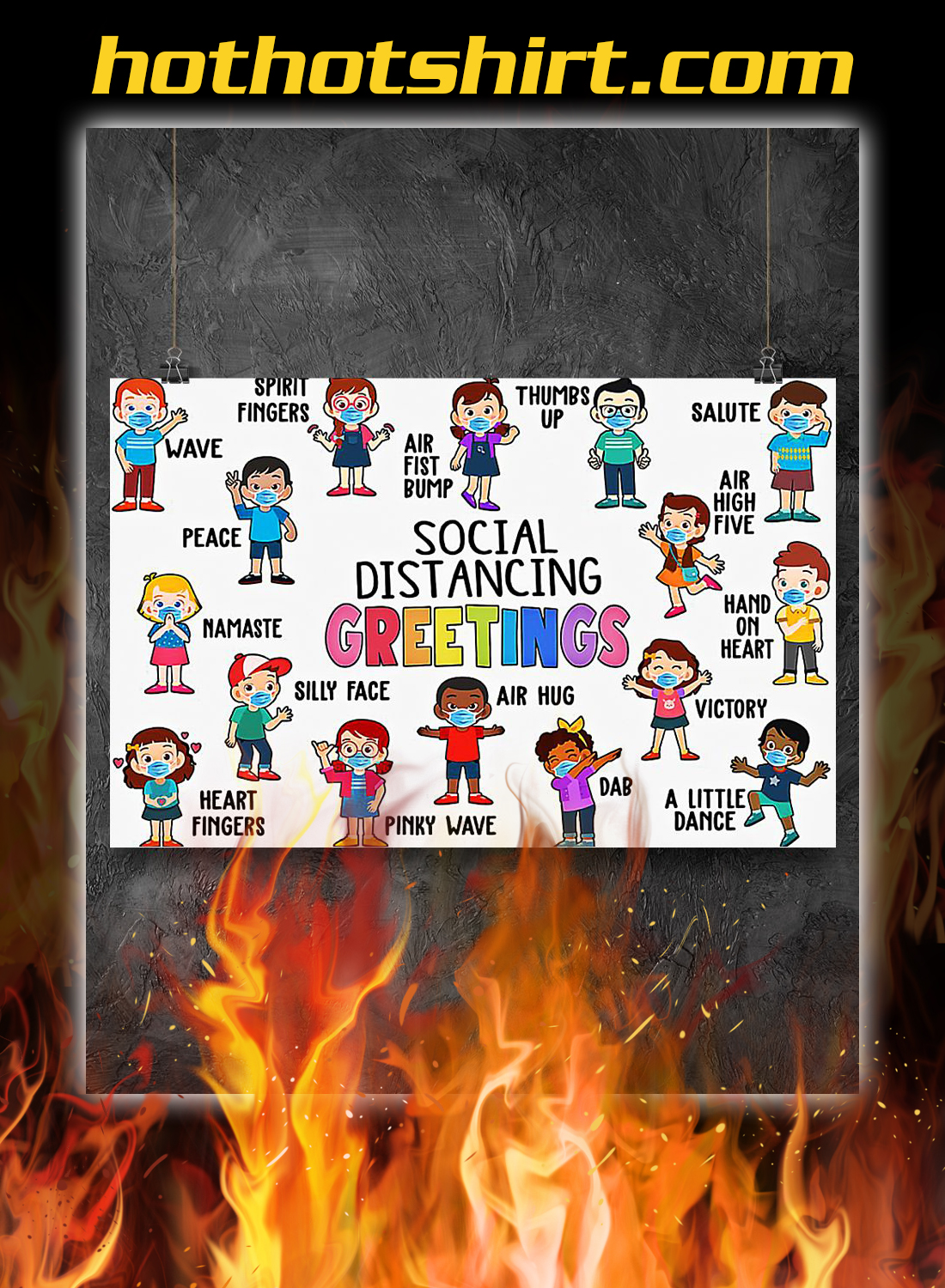 Poster Classroom Social Distancing Greetings
